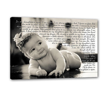 Fathers Day Gift Personalized Newborn Photo Wall Art Child Baby with text, sayings, quotes Canvas Art 18X24