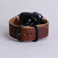 Apple Watch Band Horween Leather Rust Dublin PVD