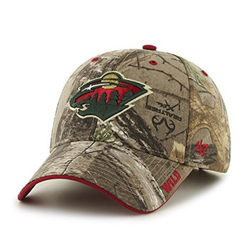 NHL Minnesota Wild Frost MVP Adjustable Hat, One Size, Realtree Camouflage