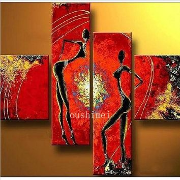 Free Shipping Hand-painted The African Dance Home Decoration Modern Abstract Oil Painting On Canvas 4pcs/set Christmas Decor