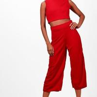 Sally Boxy Crop Top & Culotte Co-ord | Boohoo
