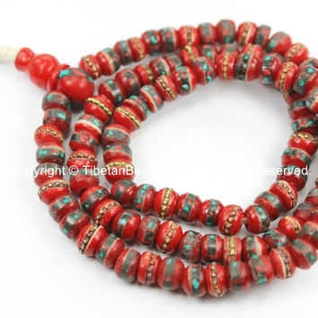108 beads Tibetan Prayer Beads 6-7mm Red Bone Mala Prayer Beads with Brass, Copper, Turquoise & Coral Inlays, Tibetan Beads - PB13XS