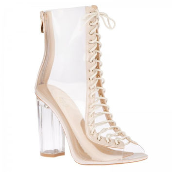 Now You See Me Nude Lace Up Boot