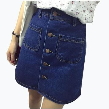 Fall 2017 Fashion A-Line Korean Mini Jeans Skirt Thin Single Breast Button Slim Waist Denim Skirts Summer Cheap Sexy Skirt Women