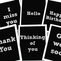 Chalkboard Variety Card Set 6 Black and White Greeting Cards. Miss You, Hello, Happy Birthday, Thank You, Thinking of You, Get Well Soon