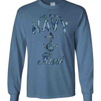 Proud Navy Aunt Long-Sleeve T-Shirt (Camo)
