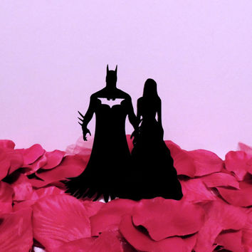 Traditional Bride with Batman Cake Topper