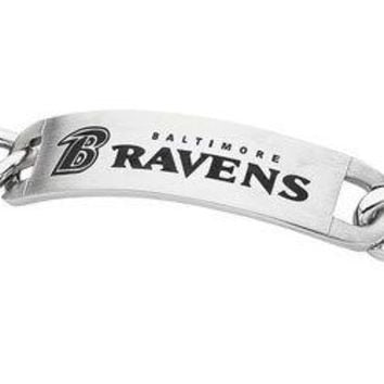 Stainless Steel Baltimore Ravens Team Name and Logo ID Bracelet - 8 Inch