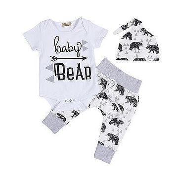 Cute Newborn Baby Clothes 3pcs Summer Infant Girls Boy Baby Bodysuit Tops Casual Bear Long Pants Leggings Hat Baby Outfits Set