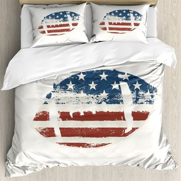 Sports Duvet Cover Set Grunge American Flag Themed Stitched Rugby Ball Vintage Design Football Theme 4 Piece Bedding Set