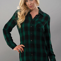 Casual Plaid Top - Green