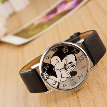 relogio Fashion Mickey Mouse watch women Leather quartz wristwatch kids Children watches Boy Girl Favorite gift dropshipping