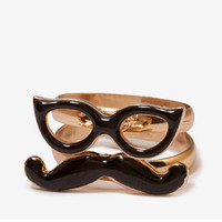 Mustache & Sunglasses Ring Set