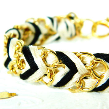 Noir & Neutral - Chevron Braided Modern Friendship Bracelet - Gold Chain