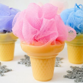 Soap on a Rope - Ice Cream Soap with shower poof puff - cute soap