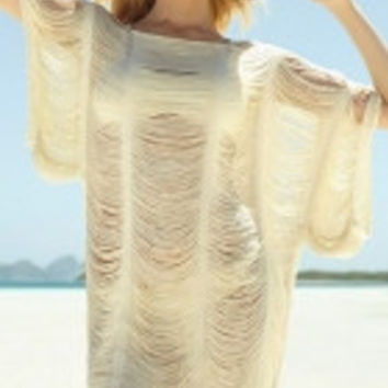 Sheer Strappy Batwing Swimsuit Cover Up
