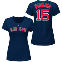 Boston Red Sox Dustin Pedroia Women's Name & Number T-Shirt by Majestic Athletic - MLB.com Shop