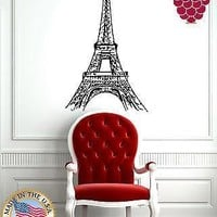 Wall Stickers Vinyl Decal From Paris with Love Eiffel Tower Sketch Unique Gift EM420