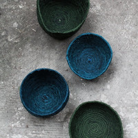 Handmade blue fibersculpture / nest /basket