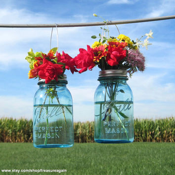 2 Hanging Mason Jars Vases with Flower Frog Lids, Wedding Mason Jars, Ball Hanging Lanterns, 2 Blue Antique Canning Flower Jars, Home Decor