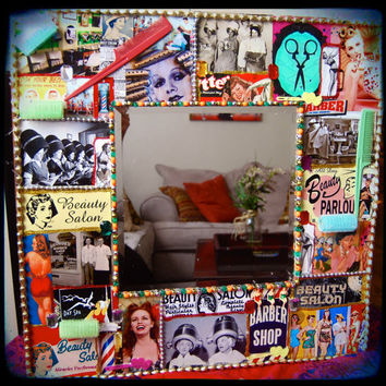 Beauty Salon Decoupage Wall Mirror - retro hair salon decor - vintage barber shop CUSTOM MADE