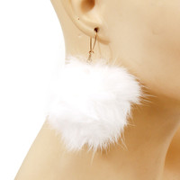 "2.50"" rabbit fur pom pom dangle Earrings"