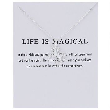 """Life is Magical"" Silver Unicorn Necklace"