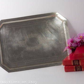 16'' Large Serving Tray: Silver Plated Victorian Style Tray Engraved Decrations, Metal Tea Serving Tray, Tea Party, Home Decor