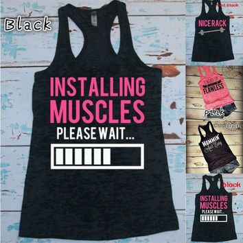 INSTALLING MUSCLES PLEASE WAIT Funny Tanks Women Fashion Summer Sleeveless Tops Casual Sports Tank Tops