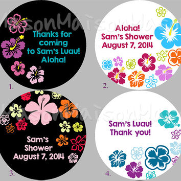"Personalized Party Labels - Thank you Labels - Favor Labels - Luau Stickers - Flower Labels Mason Jar Labels 2"" or 2.5"" round"