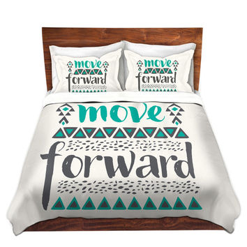 Move Forward Uplifting Quote Bed Duvet Cover – For Twin, Queen and King Size Beds