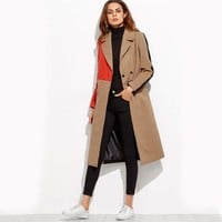 Color Block Patchwork Double Breasted Coat