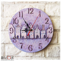 The Purple Houses Wall Clock OOAK Home Decor for Children Baby Kid Boy Girl Nursery Playroom