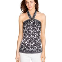 White House | Black Market Printed Scarf Halter Top