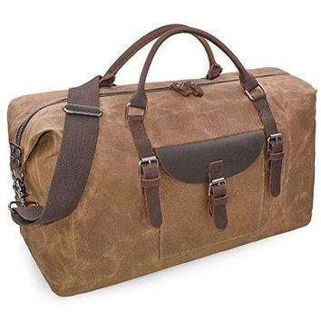 Oversized Travel Duffel Bag Waterproof Canvas Weekender Leather Overnight Hand Bag
