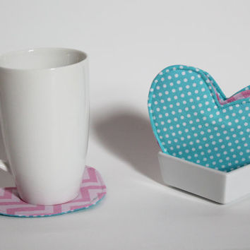 Heart shaped Fabric Coasters, Set of 4, Aqua Polka Dots, Pink Chevron Pattern, Reversible, Cute gift, Mother's Day, Wedding, Housewarming