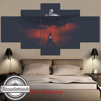 Cool Attack on Titan 5 Pieces Modern HD Print Canvas Painting Art  Anime on Canvas Wall Art for Home Decorations Wall Decor ArtWork AT_90_11