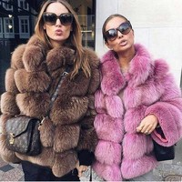 Pink Java QC8139 2017 new arrival fahion women thick fur coat real fox fur jacket long sleeves ganuine fox outfit hot sale