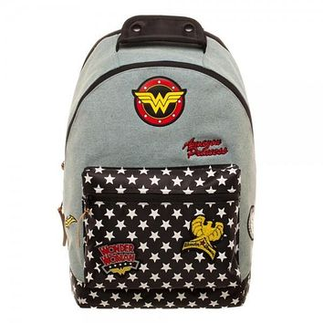 Womens DC Comics Wonder Woman Denim Backpack with Patches