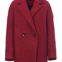 Notch Lapel Collar Double Breasted Wool Coat