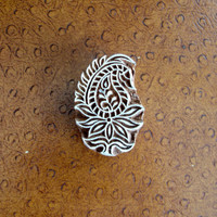 Paisley Stamp, Flower Stamp, Indian Printing Block, Hand Carved Wood Block Stamp, Wooden Textile Stamp from India