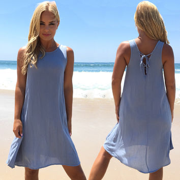 Simply Chic Shift Dress In Dusty Blue