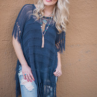 Brunch Fringe Knitted Sweater Tunic Top (Navy)