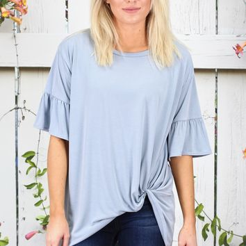 Get Twisted Ruffle Sleeves Modal Top {Powder Blue}