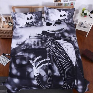 Cool 3D Sugar Skull Comforter Bedding Set King Queen Size Xmas Nightmare Christmas Bed Duvet Covers Single Black Sheets Set LinenAT_93_12
