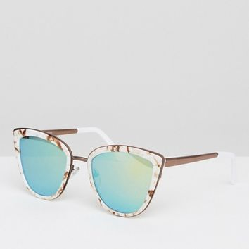 ASOS Cat Eye Sunglasses With Metal Sandwich In Marble With Flash Lens at asos.com