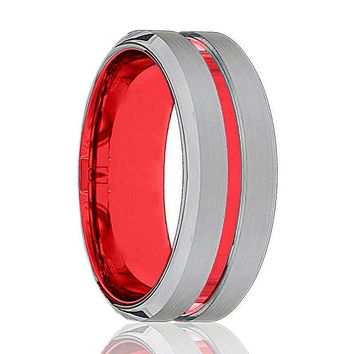 Silver And Red Tungsten - Mens Wedding Band - Tungsten Ring - Scarlet Red - Beveled Edge - Tungsten Wedding Band