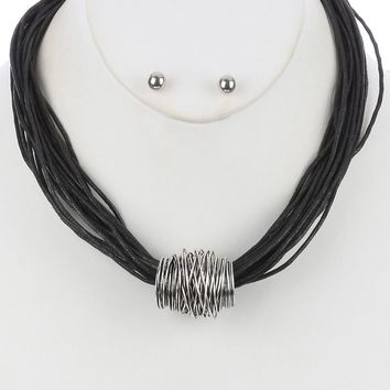 Black Wrapped Metal Wire Multi Cord Strand Bib Necklace And Earring Set