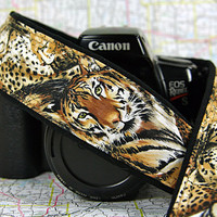 Afican Tiger, Cheetah, Camera Strap, Safari, Big Cat, Spots, Stripes, Animal Print, Gold, Black, SLR or DSLR, 190 w