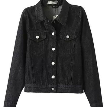 Black Lapel High Waist Short Denim Jacket